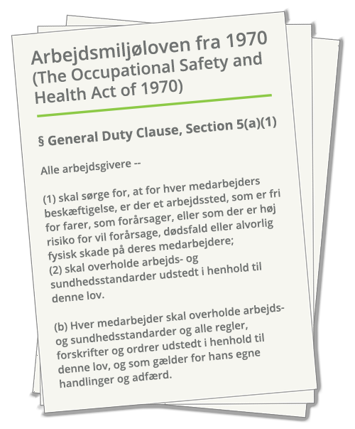 USAs arbejdsmiljølov 'The Occupational Safety and Health Act of 1970', General Duty Clause, Section 5(a)(1)