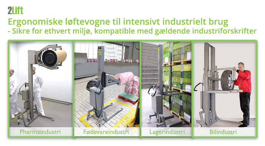 Industrielle minilifte til intern transport i enhver industri: pharmaindustrien / farmaindustrien, fødevareindustrien, lagerindustrien, bilindustrien etc.